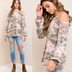 Floral Camo Cold Shoulder Top | B5